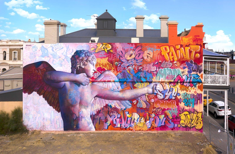 Mural in Port Adelaide for Wonderwalls Pichiavo