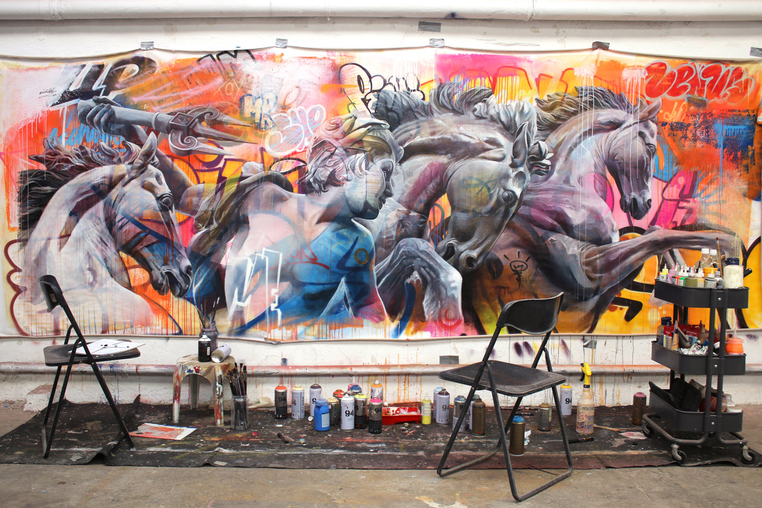 Bowery Wall canvas Making of